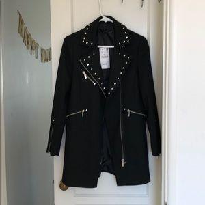 Zara black studded zip-up coat